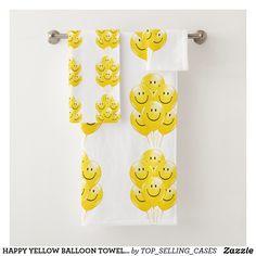 HAPPY YELLOW BALLOON TOWEL/BATH SET Spa Towels, Bathroom Towels, Yellow Baths, Yellow Balloons, Bath Towel Sets, Luxury Bath, Washing Clothes, Europe, Textiles