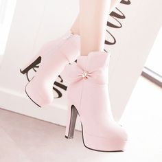 """Designer Waterproof High-Heeled Boots Side Zipper Ankle Boots With Bow Decoratio. - Designer Waterproof High-Heeled Boots Side Zipper Ankle Boots With Bow Decoration – NewChic """"De - Fancy Shoes, Pretty Shoes, Beautiful Shoes, Me Too Shoes, Beautiful Things, Pink Shoes, High Heel Boots, Heeled Boots, High Heels"""