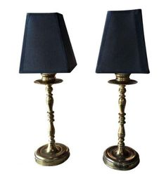 Pair, Vintage Brass Buffet Lamps
