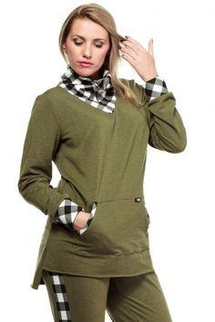 Bluza z golfem w kratę khaki Golf, Turtle Neck, Hoodies, Sweaters, Fashion, Moda, Sweatshirts, Fashion Styles, Parka