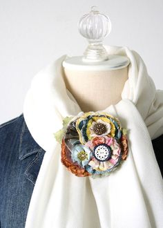 Button Bouquet Fabric Brooch Fabric Flower Pin by rosyposydesigns, $34.00
