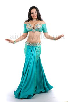 Beautiful proncess-like professional custom made belly dance outfit in blue color