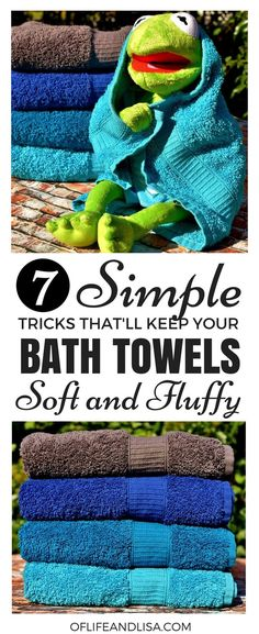 """This post will show you how to turn your stiff bath towels into """"hotel"""" soft and fluffy towels. tips tips and tricks tips for big families tips for hard water tips for towels"""