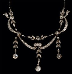 Edwardian platinum diamond drop necklace 1910c