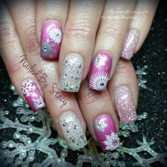 Pink Snowflake Nails by NailedByStacy via @nailartgallery #nailartgallery #nailart #nails #gel #abstract #holiday #valentinesday #winter #christmas #candycane #snow #snowflakes #bling