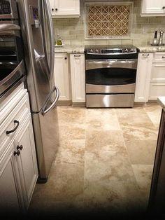 Palm Harbor, Florida 18x18 Brick Set Travertine Kitchen Floor U0026 Backsplash  #tile #travertine