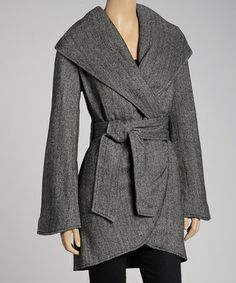 {Dark Gray Wool-Blend Tie Jacket} Seasonal must-have #zulily #ad *Just added myself to the notify list...