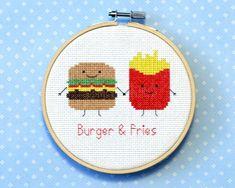 Burger and fries cross stitch pattern: Cute kawaii