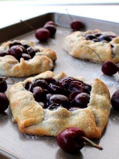Rustic Cherry Tarts Delish - Plus 31 other cherry recipes Tart Recipes, Fruit Recipes, Sweet Recipes, Sweet Cherry Recipes, Easy Summer Desserts, Summer Dessert Recipes, Summer Fruit, Dessert Simple, Simple Pie