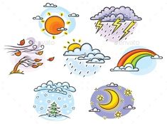 Cartoon Weather Set #AD #Cartoon, #Sponsored, #Weather, #Set