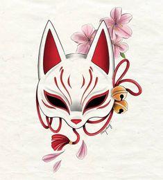Cool Art Drawings, Art Drawings Sketches, Tattoo Drawings, Japanese Tattoo Art, Japanese Art, Japanese Drawings, Kitsune Maske, Seele Tattoo, Fuchs Tattoo