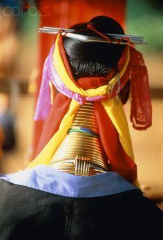 Burma/Myanmar | Back view of a Padaung woman wearing neck rings | © Sergio Pitamitz/Corbis