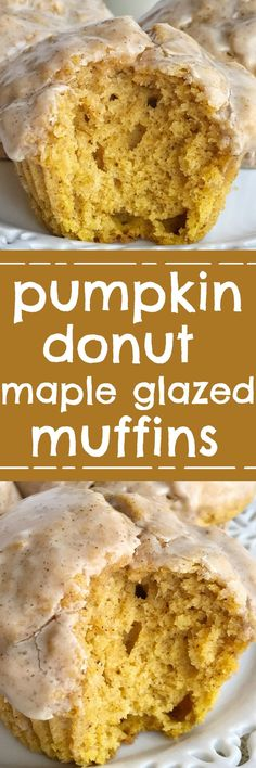 Pumpkin Doughnut Glazed Muffins Pumpkin Muffin Recipe Pumpkin Donut Glazed Muffins Bake Up Perfectly And Are So Soft and Fluffy. Loaded with Pumpkin And Pumpkin Spices And Then Dipped In A Delicious Maple Cinnamon Glaze. Zucchini Muffins, Muffins Blueberry, Fun Desserts, Delicious Desserts, Dessert Recipes, Yummy Food, Breakfast Recipes, Breakfast Pastries, Tasty