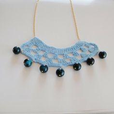 Crochet necklace crochet jewelry necklace blue by AdriaticDream, €24.00