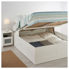 Lift Storage Bed, Storage Bed Queen, Cama Queen, Ottoman Bed, Ikea Malm, Best Ikea, Box Bed, Bedroom Cabinets, Headboards For Beds