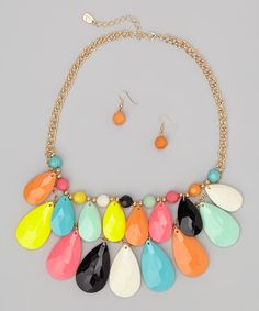 Love this Pink & Yellow Bib Necklace & Earrings by Mica on #zulily! #zulilyfinds