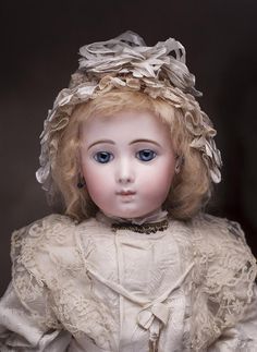 """22"""" (56 cm) Very Beautiful Antique French Bisque Bebe Doll Triste by Jumeau in Rare Size 10"""