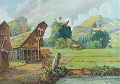 Schoolplaten: Indië - een dorp van de Toraja