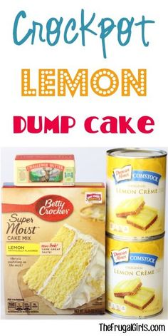 Just dump it in… and walk away! Your tastebuds will squeal with excitement for… Just dump it in… and walk away! Your tastebuds will squeal with excitement for this easy lip-smackin' Crockpot Lemon Dump Cake Recipe! SO yummy! Slow Cooker Desserts, Crockpot Dessert Recipes, Crock Pot Desserts, Crock Pot Cooking, Cooker Recipes, Lemon Dump Cake Recipe, Dump Cake Recipes, Dump Cakes, Frosting Recipes