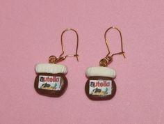 #Amazing #SoCute. Création boucle d'oreille fimo Nutella : Boucle d'oreille artisanale