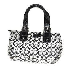 AUTHENTIC COACH Soho Signature Tote Satchel Handbag Black Patent Leather (Apparel)