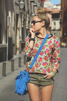 floral shirt + army green shorts