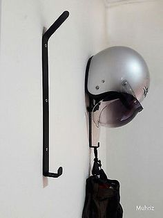 1x Motorcycle Helmet Holder, Jacket Hanger, Motorbike Wall Mount Display Rack
