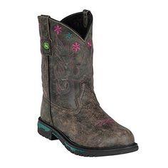 John Deere® Kid's Sanded Broad Square Toe Western Boots