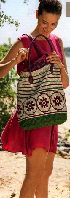 손뜨개 꽃무늬배색 가방 도안 : 네이버 블로그