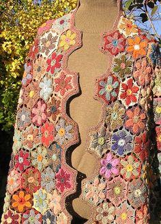 Floral Crochet Wrap Scarf Custom Order  Wool by honeybeebungalow