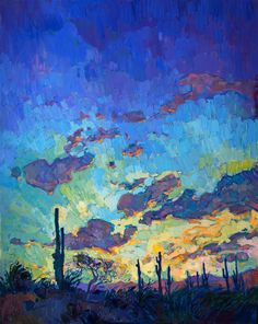 $12,400. 40 x 50 Arizona saguaro desertscape oil paintings for sale in an impressionistic style.
