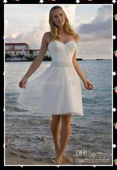 Wholesale Sheer Dress - Buy Cheap White Bridal Beach Wedding Dresses Short Strapless Best Sheer Dress,
