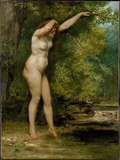 """The Young Bather - Gustave Courbet    In 1853, Courbet created a scandal when he exhibited """"Bathers"""" (Musée Fabre, Montpellier), one of his earliest paintings of nudes in a landscape. The realism of his figures shocked his contemporaries, who were accustomed to the idealized nudes of academic art. Here, the highly finished figure contrasts with the more loosely painted landscape background, which was possibly executed with a palette knife rather than a brush."""