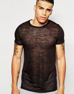 ASOS Longline T-Shirt In Slub Fabric at asos.com. Camisas HombreCamisas ... b6dc8656ce6