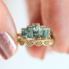 Vintage engagement rings 402368547962596251 - Agatha Art Deco Moss Agate Ring, Unique Baguette Engagement Ring – Capucinne Source by Art Deco Jewelry, Fine Jewelry, Jewelry Design, Unique Jewelry, Baguette Engagement Ring, Art Deco Engagement Rings, Baguette Ring, Handmade Engagement Rings, Gemstone Engagement Rings