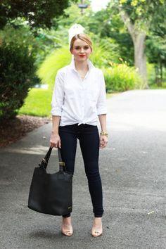 Duo camisa branca e calça preta com detalhe de nó