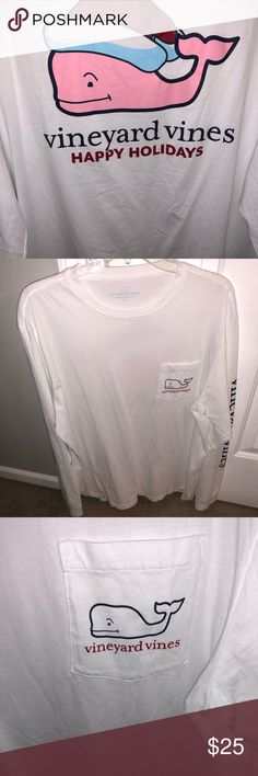 Vineyard Vines Long Sleeve T - Sz L I wore this Vineyard Vines Happy Holidays long sleeved t shirt one time and it has hung in my closet every since.   It's a men's size Large and is in perfect condition.  All items come from a smoke free home. Feel free to offer or ask any questions you may have! Vineyard Vines Shirts Tees - Long Sleeve