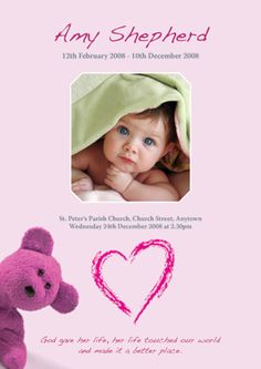 Fitting Farewell - Funeral stationery design with a Pink Cuddly Toy theme. Suitable for funeral order of service and memorial cards for a child. Also available in blue. Funeral Order Of Service, Memorial Cards, Toy 2, Stationery Design, Everything, Memories, Frames, Child, Pink