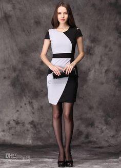 white elegant dresses for women | Women color block dress elegant work wear office lady black white