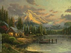"""""""Lakeside Hideaway"""" was released in March 1999 and was inspired by Mount Hood in Oregon. It features a secluded cabin along a peaceful lake in a majestic mountain area – a perfect place for someone to rest and relax.  Thom said, """"This painting suggests in my heart a profound truth; I had the sense as I worked that the canvas painted itself. Perhaps our lives should be lived with just such selfless ease and grace."""" Learn more: https://thomaskinkade.com/art/lakeside-hideaway/?ref=13"""