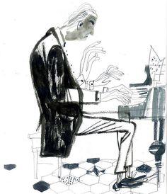 """Day 110, Pianist in Pasticceria Nonna Vincenza. День 110, Захожу в кондитерскую, а там синьор на рояле импровизирует. Заказываю себе кофе, достаю карандаши с блокнотом, а он вдруг раз! И """"Подмосковные вечера"""" разворачивает. Причем так лихо, неспешно. И вдруг я реветь начинаю - со мной такое бывает, как с эмигрантами первой волны. Потом говорю себе: """"Все, мать, бери себя в руки, такого деда упустить нельзя..."""" Как-то собралась.  #365sketchchallenge #365vikasemykina #drawingeveryday365…"""