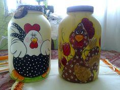 Vidros para biscoitos pintados