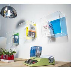 N°3 Acrylic wall cube shelves 30x30x20 #acrylic #wall #cube #plexiglass #shelves #home #design #color #colorful #designtrasparente - Cubi in plexiglass colorato.
