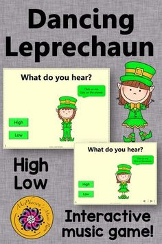Your elementary music students will fall in love with this dancing leprechaun! A perfect interactive game for March around St.Patrick's Day or anytime you are working on high/low and melodic direction!