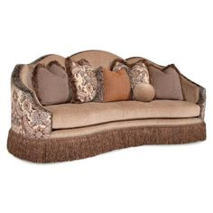 Curvaceous Fringe Skirt Fabric Sofa With Accent Pillows