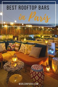 best rooftop bars in Paris, best Paris rooftop bars, rooftops of Paris, best views of Eiffel Tower, Paris skyline, Paris City View, bars with view of Eiffel Tower, Paris at night #paris #parisatnight #moveablefeast