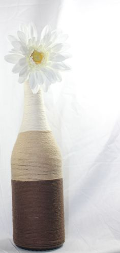 Wrapped Wine Bottle Vase Brown Ombre by InspiredAesthetics on Etsy, $18.00