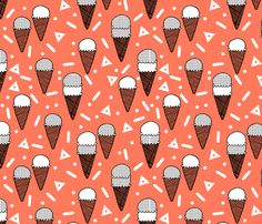 Ice Cream Party - Carrot Orange/Grid by Andrea Lauren by andrea_lauren, click to purchase fabric