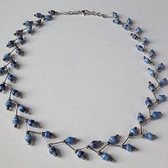 https://flic.kr/p/jfEyKR | #necklace #blue #beads  made from #recycled #paper #magazine #craft #handmade #