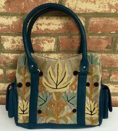 Pewter Gray & Teal Two-pouch Structured-U Bag
